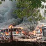Pool Bus Trans Jakarta Di Tangsel Terbakar